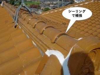 泉南市の水平棟を棟をシーリングで補強