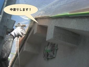 岸和田市の外壁の中塗り状況
