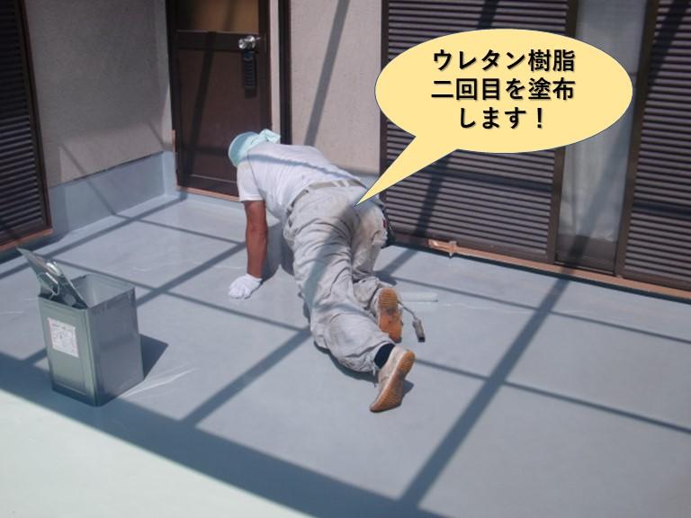 岸和田市のベランダのウレタン樹脂二回目塗布