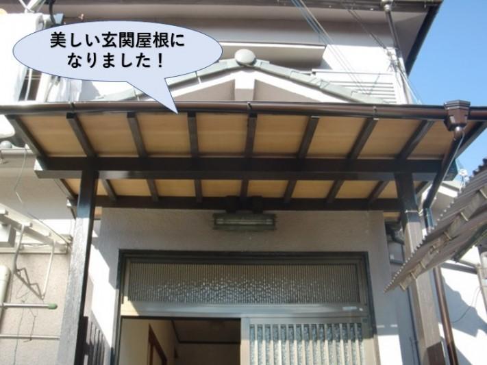 泉大津市の美しい玄関屋根になりました!