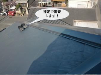 泉大津市の屋根を裸足で調査します