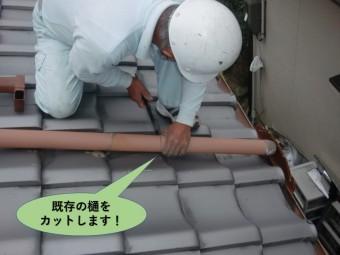 岸和田市の呼び樋の既存の樋をカットします