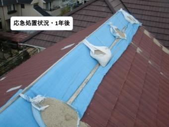 貝塚市の屋根の応急処置状況1年後