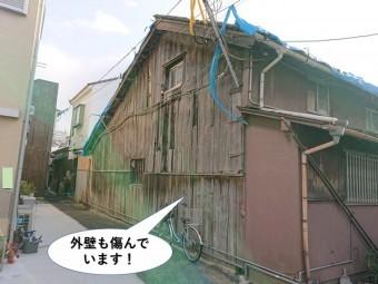 貝塚市の外壁も傷んでいます