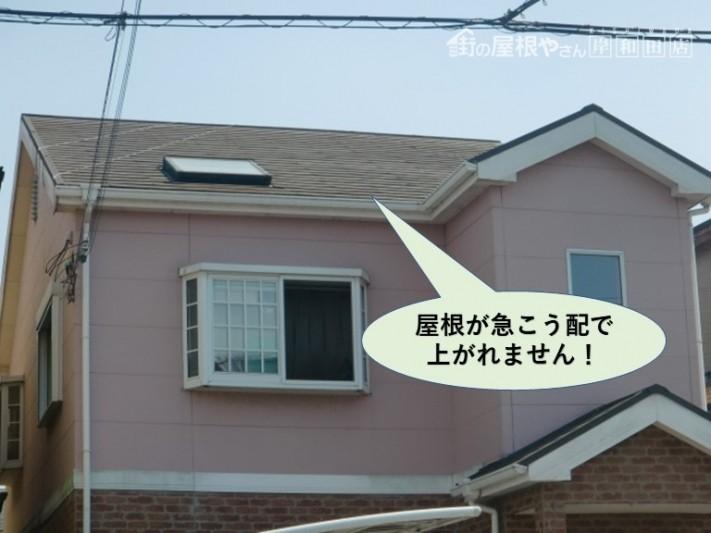 泉大津市の屋根が急こう配で上がれません