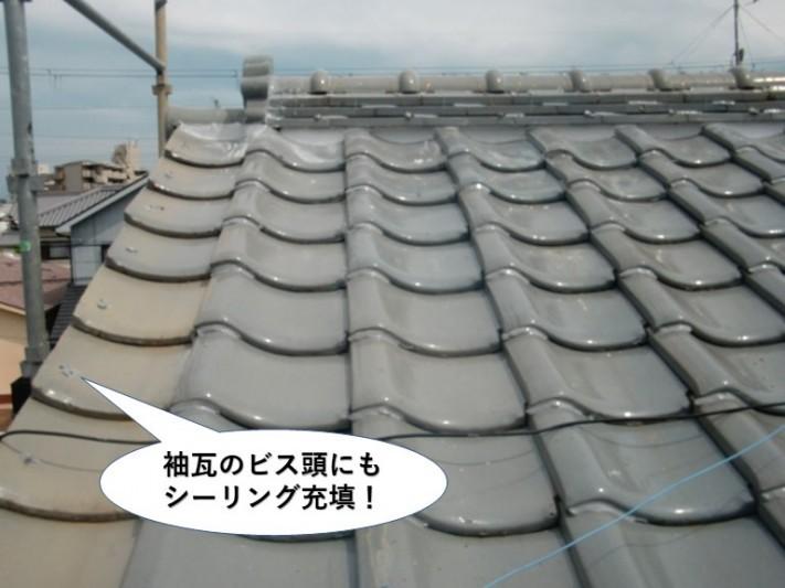 和泉市の袖瓦のビス頭にもシーリング充填