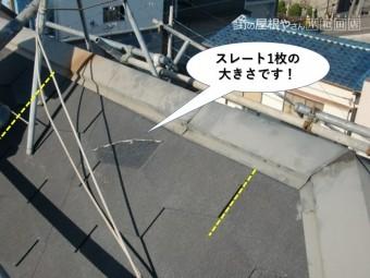和泉市のスレート1枚の大きさです