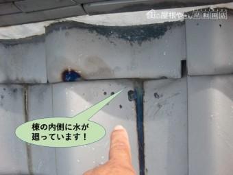 和泉市の棟の内側に水が廻っています