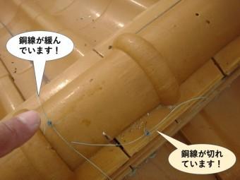 泉南市の棟の銅線が切れています