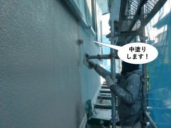泉佐野市の外壁を中塗りします