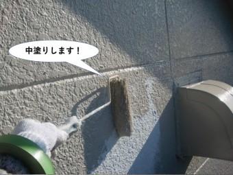 岸和田市の外壁を中塗りします