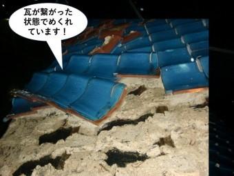 岸和田市の瓦が繋がった状態でめくれています