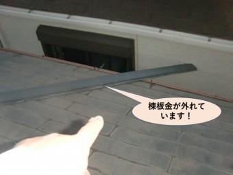 泉大津市の棟板金が外れています!