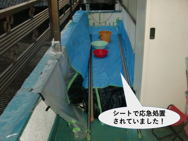 岸和田市の住宅のベランダをシートで応急処置