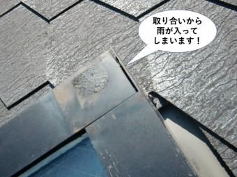 和泉市の天窓の取り合いから雨水が入ってしまいます