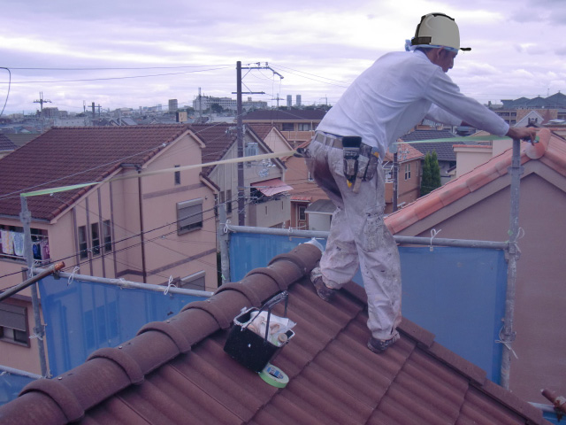 岸和田市西之内町の屋根塗装の養生