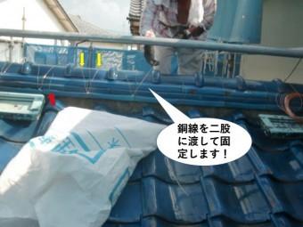 岸和田市の棟に銅線を二股に通して固定