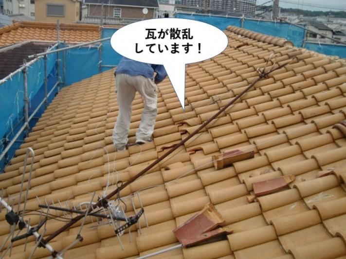 和泉市の棟瓦が散乱しています