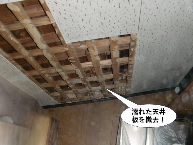 岸和田市の濡れた天井板を撤去