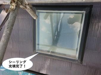 忠岡町の天窓のガラス周りにシーリング充填完了