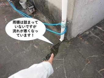 泉大津市の雨樋は詰まっていませんが流れが悪くなっています