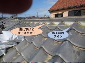 岸和田市の漆喰を奥に下げて仕上げます