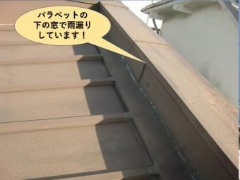 岸和田市の屋根のパラペットの下の窓で雨漏りしています