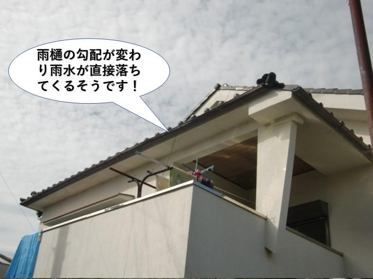 岸和田市の雨樋の勾配が変わり雨水が直接落ちてくるそうです