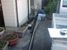 岸和田市の樋修理用資材搬入