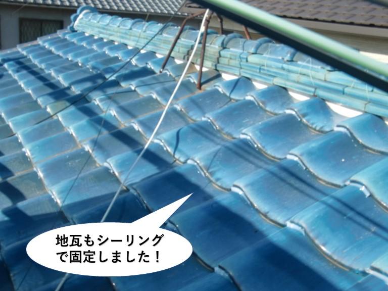 泉大津市の地瓦もシーリングで固定しました
