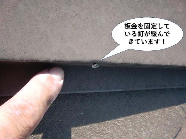 熊取町の板金を固定している釘が緩んでいます