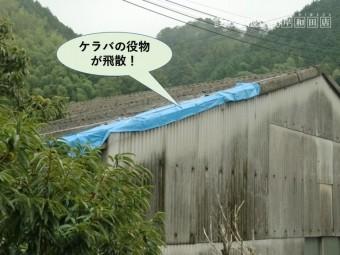 岸和田市の工場のケラバの役物が飛散