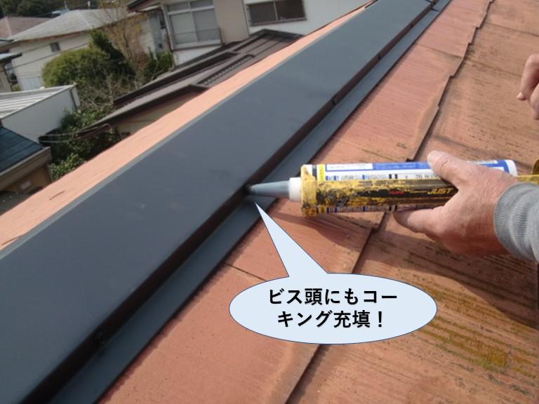 阪南市の棟板金のビス頭にもコーキング充填