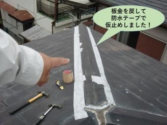 泉大津市の棟の板金を戻して防水テープで仮止めしました