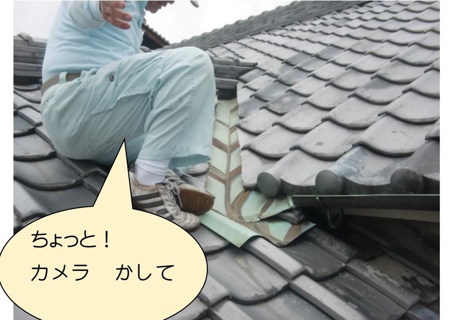 岸和田の家の屋根の雨漏り調査状況