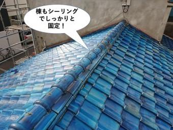 岸和田市の下屋の棟もシーリングでしっかりと固定