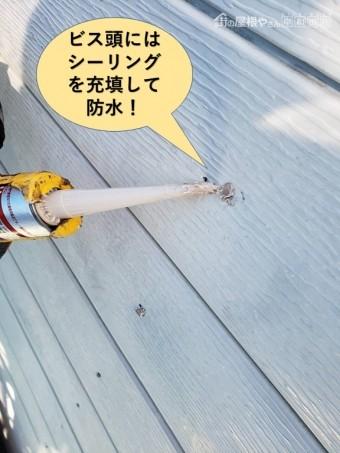 泉大津市の外壁のビス頭にはシーリングを充填して防水