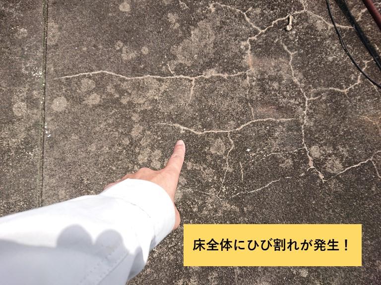 和泉市の陸屋根全体にひび割れが発生