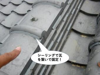 岸和田市の瓦同士をシーリングで繋いで固定
