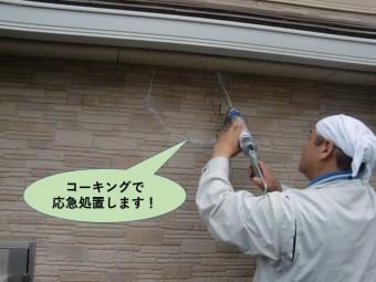 岸和田市の外壁をコーキングで応急処置します!