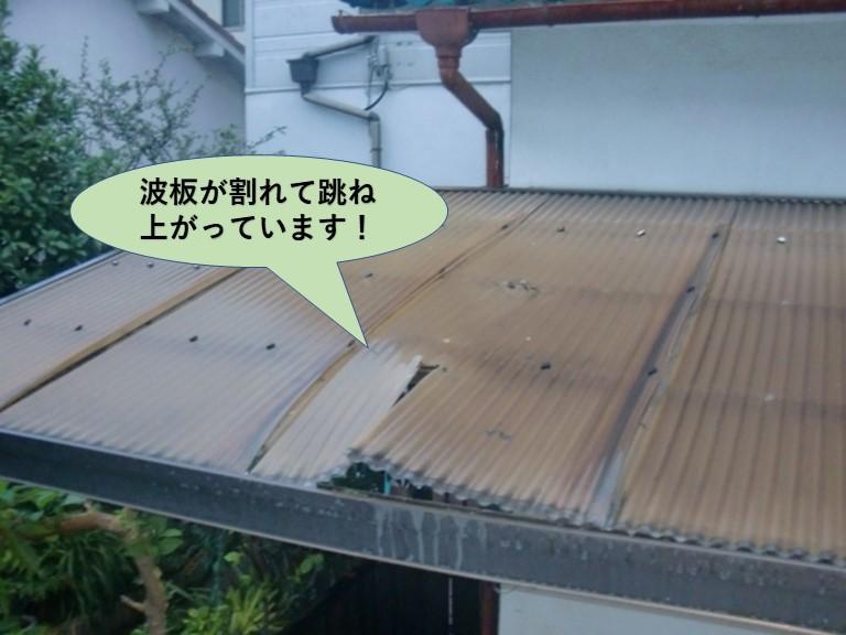 岸和田市の波板が割れて跳ね上がっています