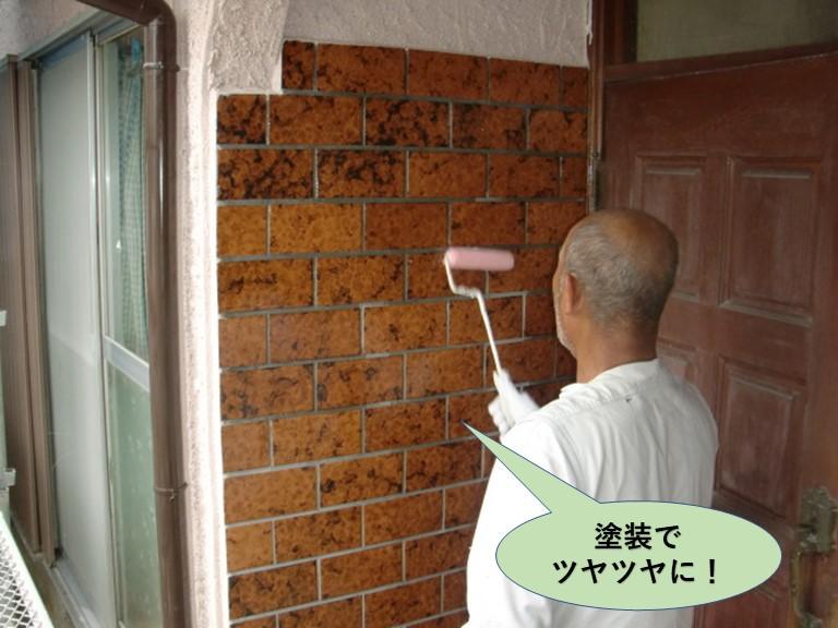 岸和田市の玄関先のタイルは塗装でツヤツヤに
