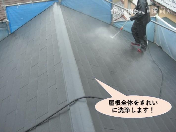 貝塚市の屋根全体を洗浄