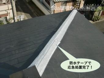 和泉市の降り棟を防水テープで応急処置完了