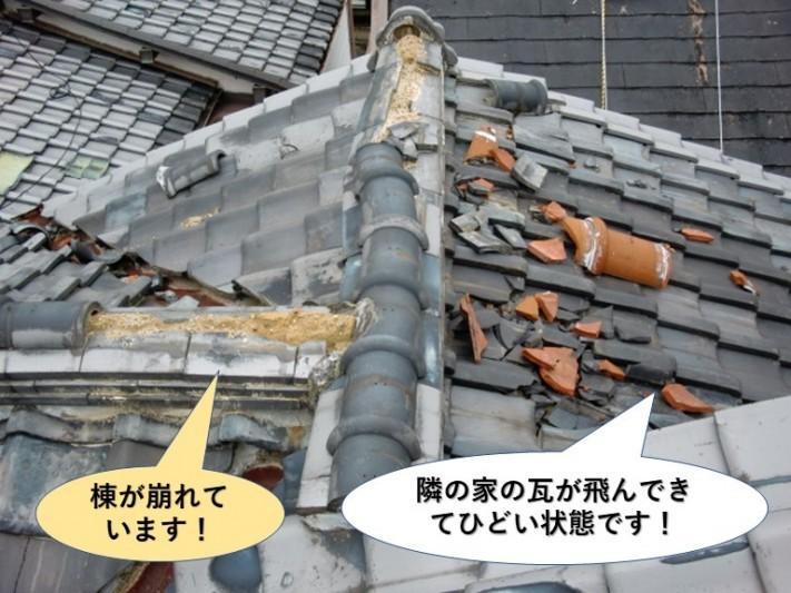 岸和田市で隣の家の瓦が飛んできてひどい状態です