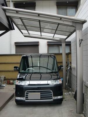 岸和田市真上町の屋根塗装と外壁塗装でカーポート屋根入替