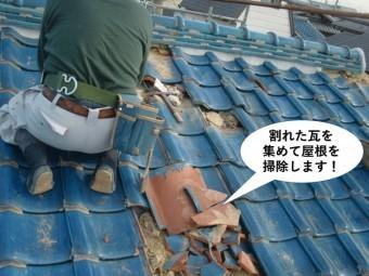 岸和田市の割れた瓦を集めて屋根を掃除