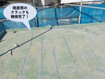 泉佐野市の陸屋根のクラックも補修