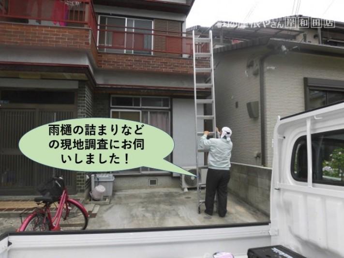 泉大津市で雨樋の詰まりなどの現地調査にお伺いしました