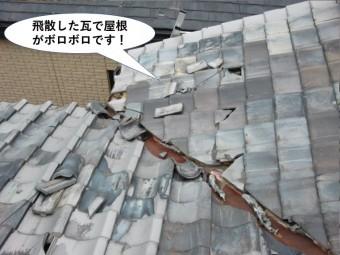 岸和田市の飛散した瓦で屋根がボロボロです